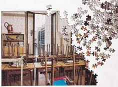 NEIGHBOURS Vecinos Fortuyn / O'Brien — 1996 Instalación Fotografía cromogénica, cartón y madera mides varies; 3 taules de fusta 260 x 120 x 78 8 c/u; 13 fotografies en color 50 x 30 cm c/u Colección MACBA. Fundación MACBA 1486