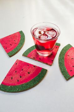 DIY sliced watermelon coasters - Kittenhood #DIY #crafts