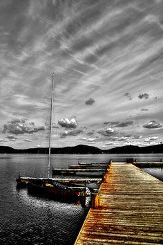 #Sailing #Sailboats #Adirondacks - Sailboat at The Woods Inn Dock - Inlet, New York - Selective coloring