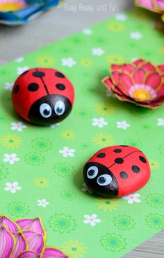 Cute Painted Ladybug Rocks - Rock Crafts for Kids
