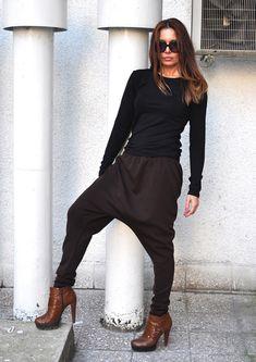 8e873ff2488 Loose Casual Brown Maxi Drop Crotch Harem Pants