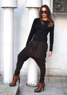 NEW COLLECTION Loose Casual Brown Maxi Drop Crotch by EUGfashion