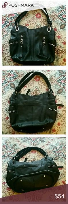 """B. Makowsky purse 100% leather outer.  Excellent condition! 2 zip and 1 small exterior pocket 3 large interior sections with zip close middle section.  3 small interior pockets as well.L 15"""" H 12 """" W 3 """" b. makowsky Bags Shoulder Bags"""