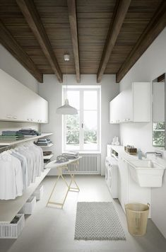 More ideas below: Unfinished Basement laundry room Layout Ideas Before And After Basement laundry room Makeover DIY Basement laundry room Organization Modern Laundry Rooms, Farmhouse Laundry Room, Modern Room, Farmhouse Remodel, Modern Wall, Modern Decor, Laundry Room Remodel, Laundry Room Organization, Basement Laundry