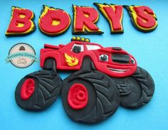 Blaze and the monster machines topper Torta Blaze, Bolo Blaze, Blaze Cakes, Little Boy Cakes, Cakes For Boys, Blaze And The Monster Machines Cake, Monster Truck Party, Cake Craft, Character Cakes