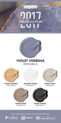 Color Of The Year 2017, Violet Verbena  adapts to surrounding environments and complements a variety of design aesthetics, from playful rooms to tranquil spaces. Violet Verbena is a moody purple with a chameleon-like presence. It pairs well with a clean white for purity and simplicity. Pair this purple hue with gray and black to see the color transform to more of the gray-purple.