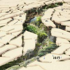 """Thomas Heatherwick unveils  """"sunken oasis"""" for Abu Dhabi"""