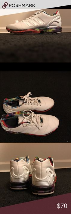 san francisco 206fc 27fde Adidas ZX Flux with multicolored sole... First all white to be released  slightly