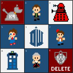 Doctor Who Crochet -- Whovian C2C CAL -- Afghan -- K-9 -- Nine -- Dalek -- Ten -- DW -- Eleven -- TARDIS -- Twelve -- Cyberman