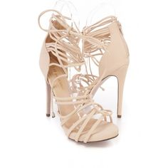 Nude Ankle Lace Up Peep Toe High Heel Nubuck (715 ZAR) ❤ liked on Polyvore featuring shoes, pumps, prom shoes, lace up stilettos, nude pumps, nude prom shoes and nude dress shoes