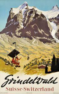 Grindelwald Vintage Swiss Travel Poster
