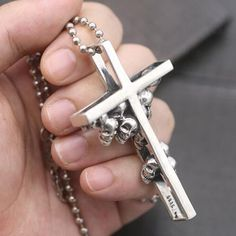 """Men's Sterling Silver Skulls Cross Pendant Necklace with Sterling Silver Bead Chain 18""""-28"""""""