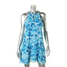 Calvin Klein 3014 Womens Blue Halter Printed Party Dress 4 BHFO for sale online Calvin Klein Store, Calvin Klein Women, Online Fashion Stores, Online Clothing Stores, Halter Sundress, Chiffon Dress, Blue Party Dress, Tiered Dress, Print Chiffon