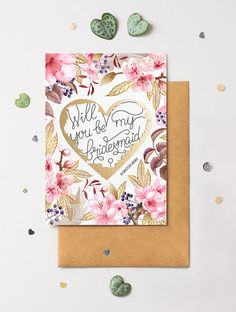 Will You Be My Bridesmaid Card Scratch Off Heart Floral 3