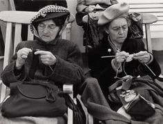 : ILSE BING Two Women Knitting, 1947, concentration, focus, crafting, knitters, vintage, photo b/w.
