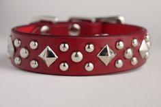 Christmas Red Leather Dog Collar with Nickel by dieselDOGwear, $30.00