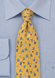 Yellow Summer Floral Necktie