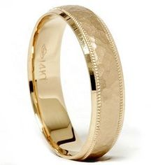 Hammered Wedding Band 14K Yellow Gold Pompeii3 Inc.. $389.00