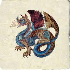 Arts and Crafts Tiles: William Morris, William De Morgan Tile, Victorian and Medieval Tiles Dragon Medieval, Medieval Art, Medieval Manuscript, Illuminated Manuscript, William Morris, Dragons, Batik, Arts And Crafts Movement, Art And Craft