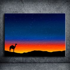 HD Picture Oil painting Desert Camel at sunset Home Decor Canvas Art high definition Print Painting