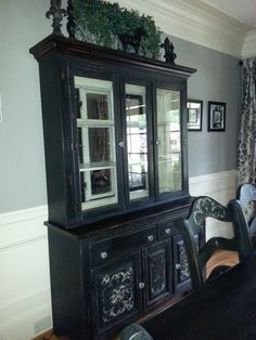 oak dining room set makeover, chalk paint, painted furniture. For the ugly hutch up north.