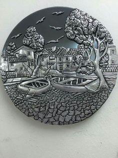 Tin Foil Art, Tin Art, Aluminum Foil Crafts, Metal Crafts, Pewter Art, Pewter Metal, Feuille Aluminium Art, Clay Wall Art, Metal Embossing