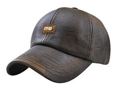 8a99b1303 YOYEAH Men's Classic Plain Adjustable Leather Baseball Cap Sports Outdoor  Panel Hat Sun Hat Vintage Baseball