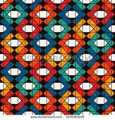 Native american style quilt blanket. Bright ethnic print with geometric forms. Seamless surface pattern with abstract figures. Ornamental background with repeated diamonds and triangles. Vector art