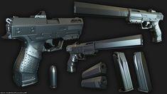 Realtime Desert Camo Sci-fi pistol. 8.5k Tris. Rendered in Marmoset 2