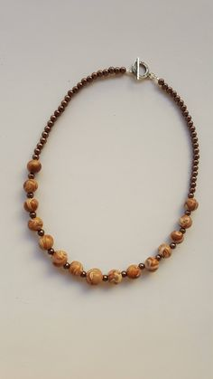 Marble effect necklace - beaded necklace - brown beaded necklace - polymer clay marbled bead necklace by RickeJewelleryCraft on Etsy