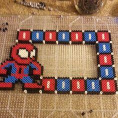 Spiderman photo frame perler design by happypurplecloud