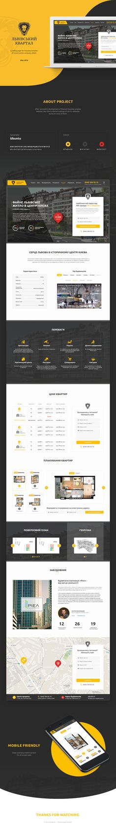 Landing page for housing complex of construction company