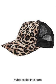 7d43ce49b5e06 Brown Black Leopard Trucker Hat. Embroidery Available.  5.77 ea dz. Buy