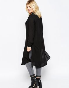 Image 2 of ASOS CURVE Long Sleeve Maxi Blouse with High Splits