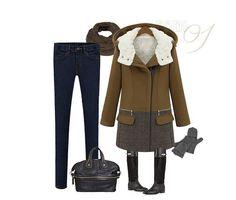 Cotton Lamb Wool Hooded Style Woolen Coat
