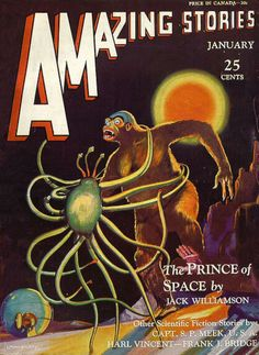 Comic Book Cover For Amazing Stories v05 10 - The Prince of Space - Jack Williamson