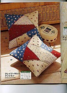 Crazy patchwork cushion sew ideas for 2019 Sewing Pillows, Diy Pillows, Decorative Pillows, Throw Pillows, Handmade Cushions, Patch Quilt, Quilt Blocks, Patchwork Cushion, Quilted Pillow