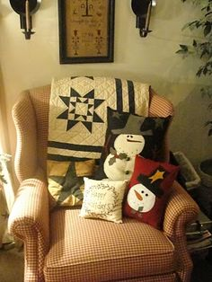 Snowman Pillows... and the Quilt and Merry Christmas stitched pillow