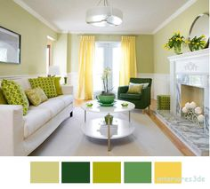 Lovely spring green & yellow contemporary living room design with butter yellow . Lovely spring green & yellow contemporary living room design with butter yellow silk drapes, French doors, ivory sofa, g. Living Room Green, Living Room Paint, New Living Room, Living Room Decor, Small Living, Cozy Living, Living Room Color Schemes, Living Room Colors, Living Room Designs