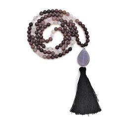 Purple Jade Mala, Mala Necklace, Rose Quartz, Mala Beads, Jade Mala, Purple Jade Necklace,Prayer Beads,Jade Tassel Necklace, Mala,Yoga Beads
