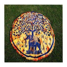 Elephant Tree Yellow Mandala Roundie Beach Throw Blanket Wall Hanging – TheNanoDesigns