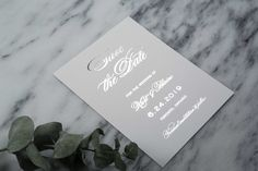 Kurt & Blaine Save the Date: Let everyone know with Kurt & Blaine Save the Date. A classic composition featuring the couple's Initial Monogram. Simply elegant. Shown in Silver Foil but can be personalized in any of the foil finishes.