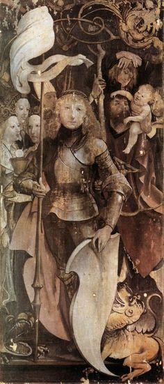 Matthias Grünewald, c.1475-1528, German, Fourteen Saints Altarpiece (detail), 1503.  Oil on wood, 159 x 68,5 cm.  Parish church, Lindenhardt.  German Renaissance.