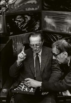 Marcel Duchamp and Man Ray at Man Ray's Home, Paris, 1968 by H.C.Bresson