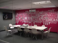 I don't necessarily like the pink but appreciate the boldness with white furniture.