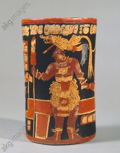 Cylindrical vase showing a depiction of a figure in a parade and hieroglyphic text, artifact originating from Tikal (Peten, Guatemala). Mayan Civilization.
