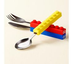 Love these...Kids' Tableware: Kids Building Block Inspired Stacking Silverware