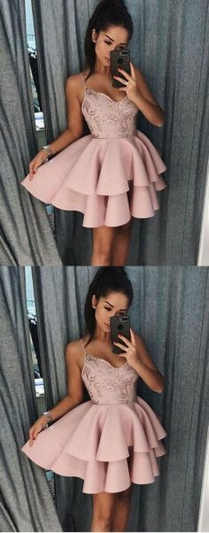 Pink v neck lace short prom dress, homecoming dress G441