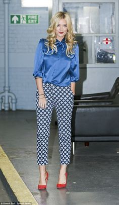 Laura Whitmore - Print Cigarette Trousers + Plain Satin Blouse, Red Pumps. Class!