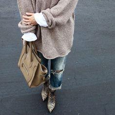 #neutral #denim #layers #knit